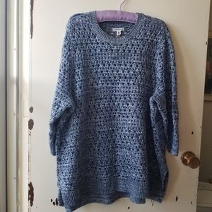Blue Long Sleeve Round Neck Crochet Sweater